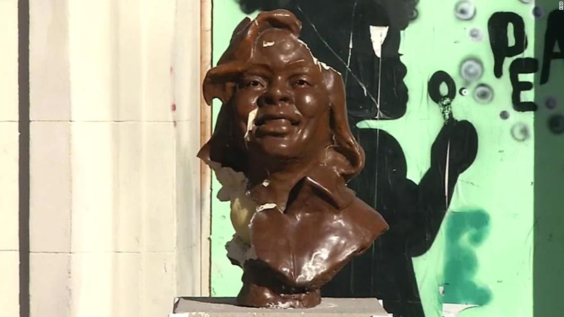 Briona Taylor's bust was destroyed in an apparent act of vandalism