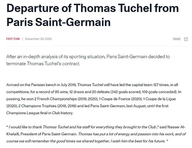 A statement from Paris Saint-Germain on Tuesday said Tochel was removed after 'in-depth analysis'