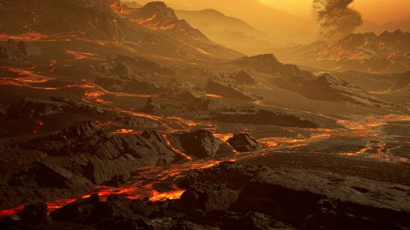 Impressão artística da superfície do Gliese 486b.  Crédito da imagem: RenderArea, https://renderarea.com.