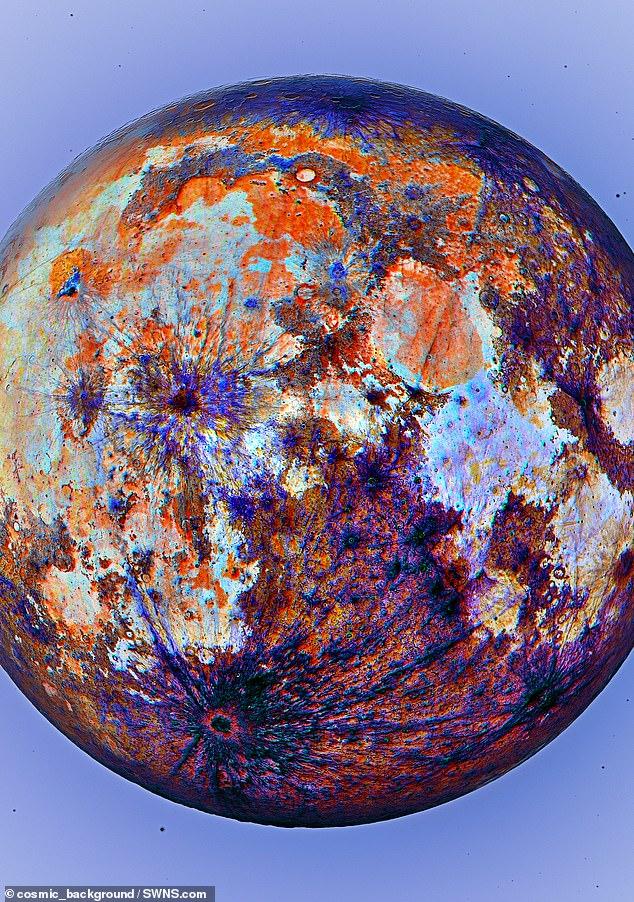 Andrew diz que as regiões mais brilhantes mostram onde a lua uma vez fluiu com magma