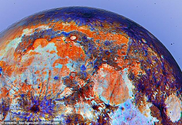 O astrônomo Andrew McCarthy, conhecido como @ cosmic_background no Instagram, mudou a imagem da superfície da lua para destacar coisas que o olho humano não pode ver.