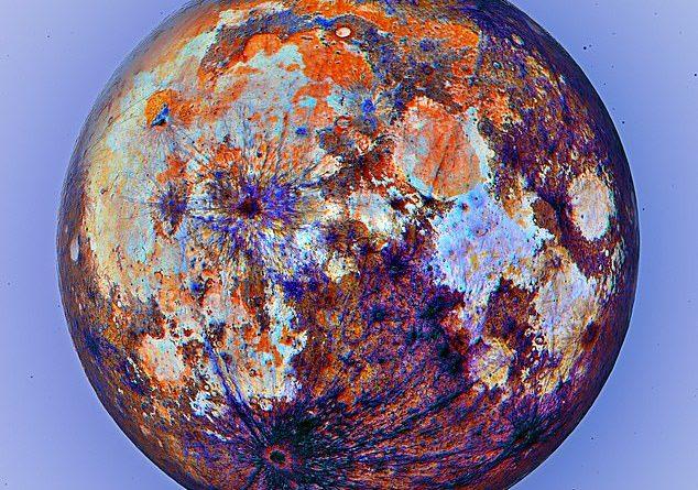 Esta impressionante imagem da lua em cores de cabeça para baixo mostra onde o magma fluiu - e como seria com uma 'visão metálica'