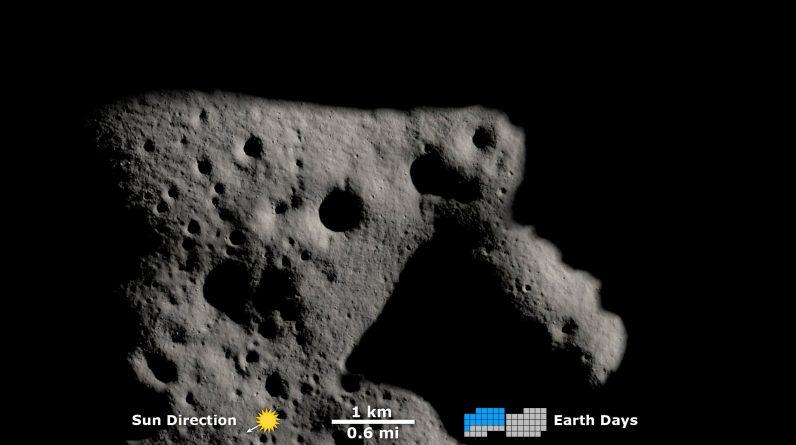 Movimento das sombras dos espiões de reconhecimento lunar perto do pólo sul da lua