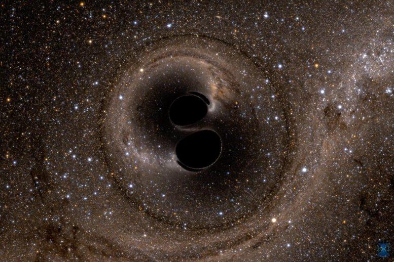 A colisão de dois buracos negros GW150914