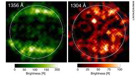 Em 1998, o Hubble obteve as primeiras imagens ultravioleta de Ganimedes.