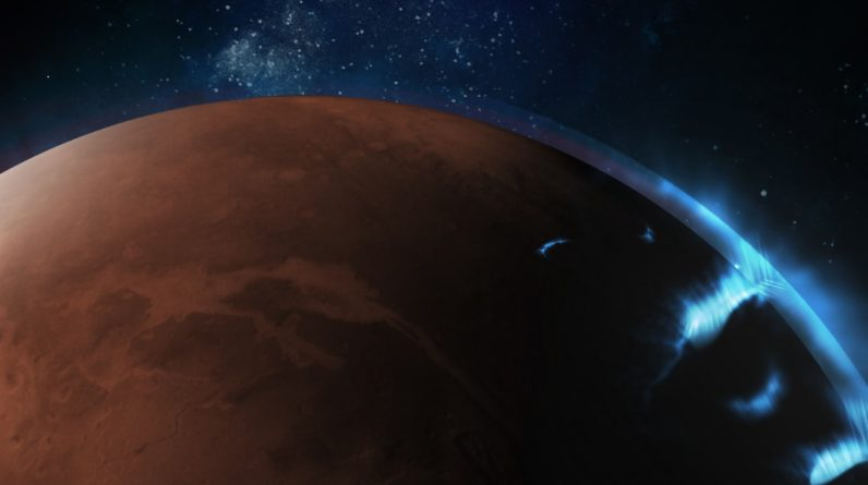 No brilho ultravioleta, auroras em Marte avistadas por um orbitador dos Emirados