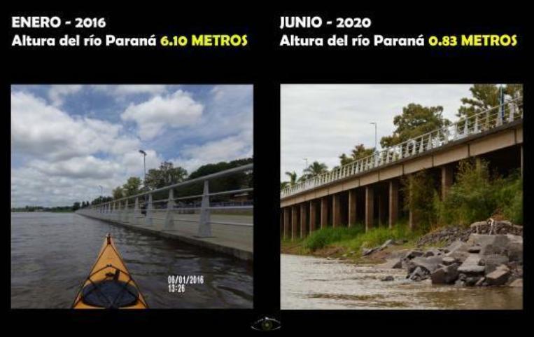 As fotos foram tiradas no Paraná, na província argentina de Entre Rios, em janeiro de 2016 (à esquerda) e junho de 2020 (à direita).