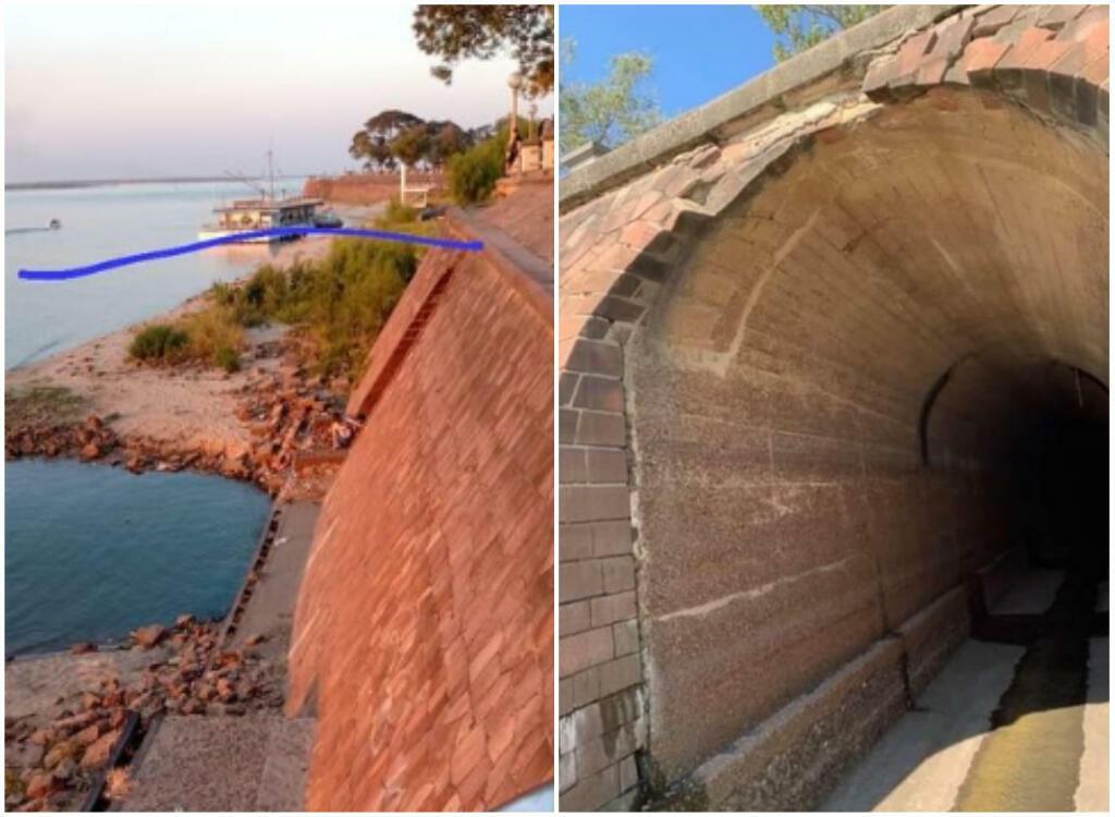 """Conforme o nível da água cai, um """"Metrô"""" Foi descoberto em Corrientes, município às margens do rio Paraná, em frente a Resistencia.  À esquerda, a linha azul mostra de onde a água vinha antes, cobrindo a entrada do túnel."""