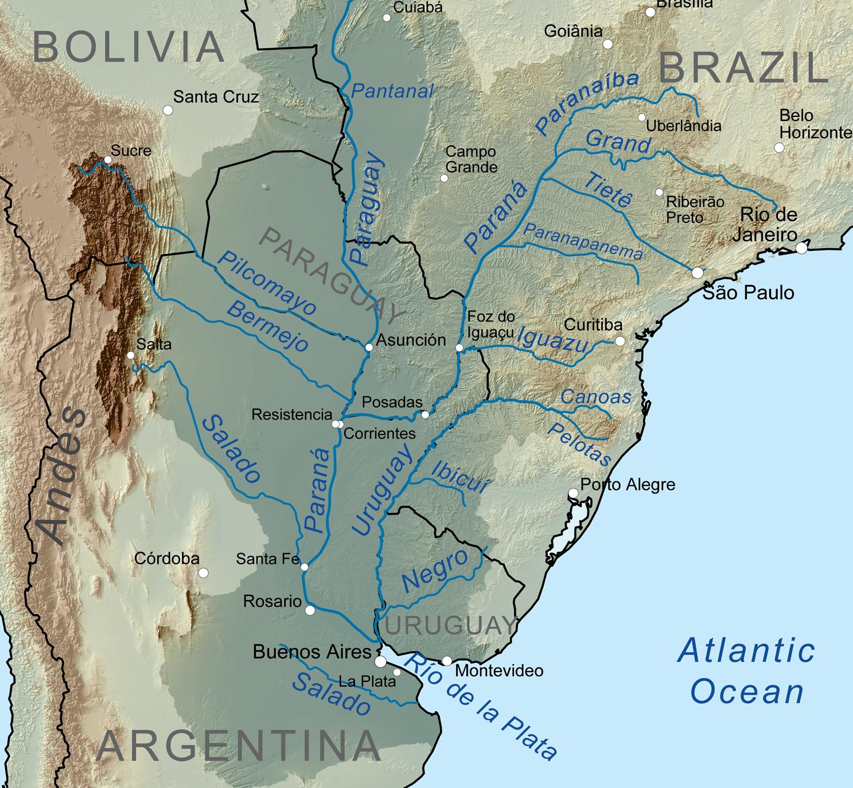 Rio Paraná e seus afluentes.
